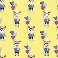 invierno de los niños. patrón sin costuras, vacaciones. un niño con cuernos de ciervo en la cabeza y globos en ropa de invierno sobre un fondo amarillo. vector