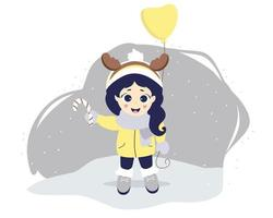 Kids winter. A cute girl with deer horns on her head and a balloon stands on a gray background with snow. vector