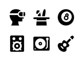 Simple Set of Entertainment Related Vector Solid Icons. Contains Icons as Virtual Reality, Guitar, Sound System, Turntable and more.