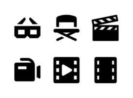 simple conjunto de iconos sólidos vectoriales relacionados con el entretenimiento. contiene iconos como gafas, claqueta, cámara, tira de película y más. vector