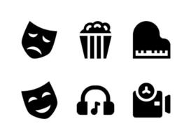 Simple Set of Entertainment Related Vector Solid Icons. Contains Icons as Popcorn, Theatre Mask, Headphone, Camera and more.