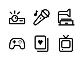Simple Set of Entertainment Related Vector Line Icons. Contains Icons as Projector, Game Controller, Casino Card, Television and more.