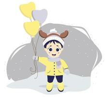 Kids winter. A cute boy with deer antlers and balloons stands on a gray plan with snow. vector