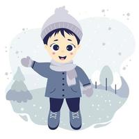 Kids winter. Happy boy stands and waves his hand on a background with a winter landscape, trees and snow. vector
