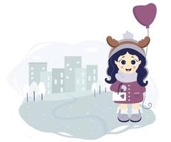 Kids winter. A girl with deer antlers on her head and a balloon stands against the backdrop of a cityscape, houses and trees. vector