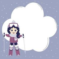 Kids winter. Winter sport poster and man. Cute girl is skiing. Blue background with snow and a cloud for writing text. vector