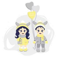 Kids winter. Boy and girl with deer horns on their heads and balloons on a gray background. vector