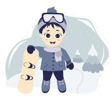Kids winter. Winter sport and boy athlete with a snowboard on a background with a winter landscape, fir trees and snow. vector