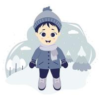 Kids winter. Happy boy on a winter walk in nature stands on a blue background with trees, clouds and snow. vector