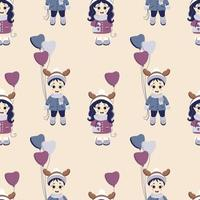 Seamless pattern. A boy with balloons and a girl with a handbag and with deer antlers on their heads in winter clothes on a light background. vector