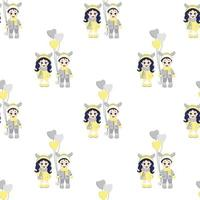 Kids winter. Seamless pattern. Boy and girl with deer antlers on their heads and with balloons in winter clothes on a white background. vector