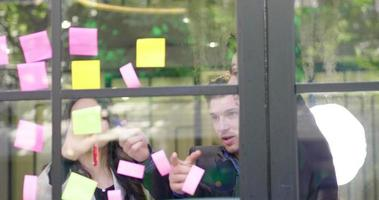 Group Business Meeting Using Sticky Notes