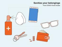 instrucciones para la desinfección de artículos personales contra virus y covid-19. teléfono, llaves, dinero, billetera y anteojos. vector