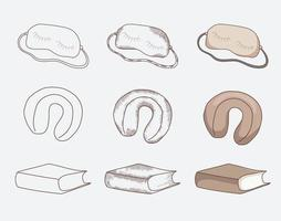 Items for travel and sleep on the road, blindfold, pillow and book. Different design options, contour, shading, vintage, contour and color. vector