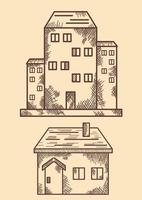 Houses, big and small. Hand drawing, line and shading vector