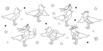 Set of seabirds, gulls characters vector