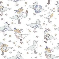 Seamless patterns with seabirds. Cute funny seagulls in beachwear on a white background with seashells and starfish. vector