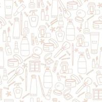 Seamless pattern. Line drawings of cosmetics, bottles and creams, beauty and cosmetics on a white background. vector