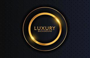 Luxury elegant background with shiny gold circle element on dark black metal surface. Business presentation layout vector
