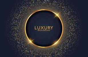 Luxury elegant background with shiny gold circle element and dots particles on dark black metal surface. Business presentation layout vector
