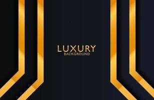 Luxury elegant background with gold lines composition on dark black surface vector