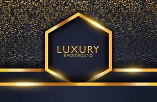 Luxury elegant background with black gold hexagon and shimmering glitter pattern. Business presentation layout vector