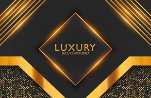 Luxury elegant background with black gold geometric shape and shimmering glitter pattern. Business presentation layout vector