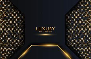 Luxury elegant background with gold geometric shape element and dots particles vector