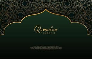 Luxury black and gold background banner with islamic arabesque, mandala ornament on dark green vector