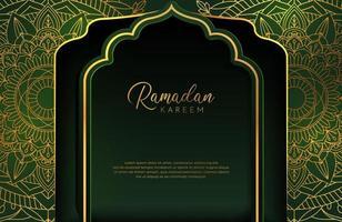 Luxury gold background banner with islamic arabesque mandala dark green ornament vector