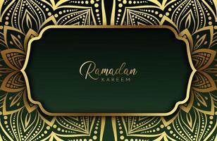 Luxury gold background banner with islamic arabesque dark green mandala ornament vector