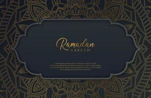 Luxury black and gold background banner with islamic arabesque mandala ornament on dark surface vector