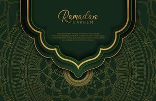 Ramadan kareem background in luxury style. Vector illustration of dark green arabic design with gold line mandala ornament for Islamic holy month celebrations.