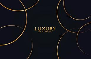 Luxury and Elegant circle shape design with golden line. Luxury gold geometric shape composition on dark background. vector