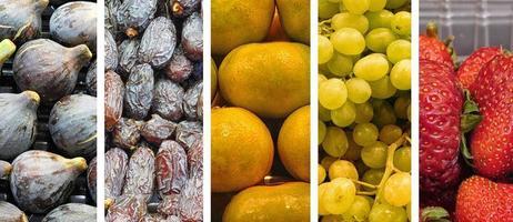 collage de frutas coloridas foto