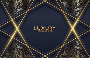 3d geometric luxury gold metal on dark background. Graphic design element for invitation, cover, background. Elegant decoration