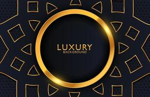 Abstract black geometric luxury background with gold element. Vector template for invitation, cover, background.