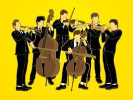 grupo de músicos de orquesta vector