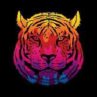 tigre, extracto, cara, vista frontal vector