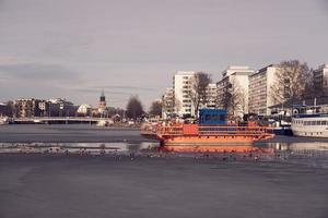 Turku, Finland, Mar 23, 2021 - Fori ferry on frozen Aura river