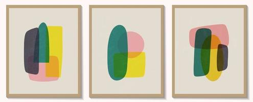 Mid century abstract backgrounds. Boho abstract creative geometric minimalist artistic hand painted composition posters. Hand drawn various shapes and doodle objects.