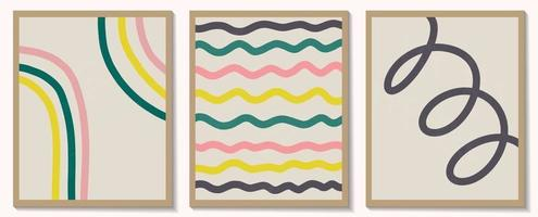 Trendy contemporary set of abstract creative geometric minimalist artistic hand painted composition. Vector posters for wall decor in vintage style
