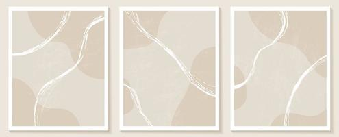 Contemporary templates with organic abstract shapes and line in nude colors. Pastel boho background in minimalist mid century style vector Illustration