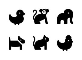 Simple Set of Animal Related Vector Solid Icons. Contains Icons as Duck Dog, Cat, Chick and more.