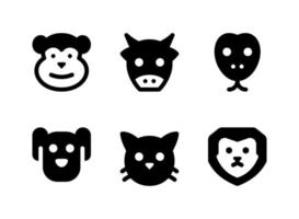 Simple Set of Animal Related Vector Solid Icons. Contains Icons as Monkey, Dog, Cat, Lion and more.