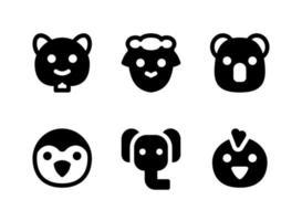 simple conjunto de iconos sólidos vectoriales relacionados con animales. contiene iconos como koala, pingüino, elefante, pollito y más. vector
