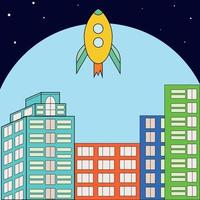 Rocket launches into space. The rocket takes off against the background of the city. Multi-colored bright houses under the dome. vector
