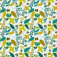 patrón con abejas, hojas y flores. fondo transparente en colores verde y amarillo. vector