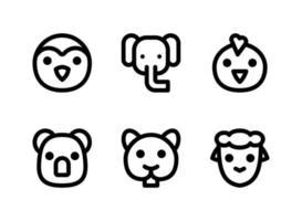 conjunto simple de iconos de líneas vectoriales relacionadas con animales. contiene iconos como pingüino, elefante, polluelo, koala y más. vector
