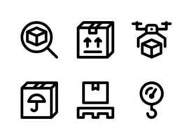 simple conjunto de iconos de líneas vectoriales relacionadas con la logística. contiene iconos como seguimiento, carga, entrega de drones, mantener seco y más. vector